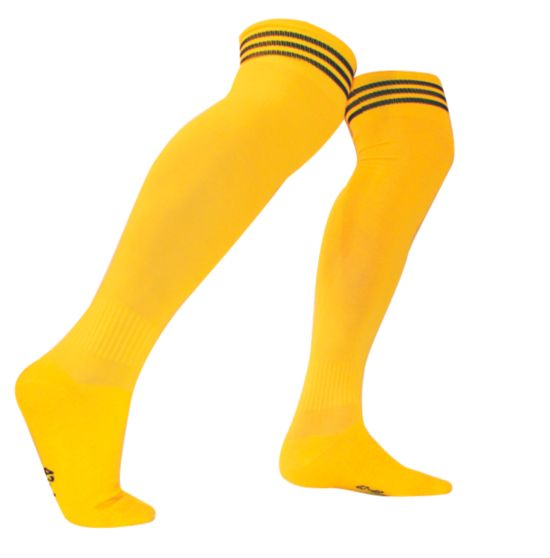 Fotballstrømpe m/tynn fot stripe GUL/SORT