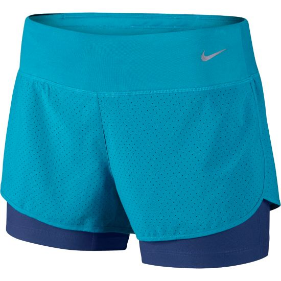 Perforated Rival 2In1 Short 407-BLUE LAGOON