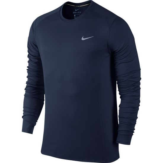 Dri-Fit Miler Long Sleeve Herre MIDNIGHT NAVY/R