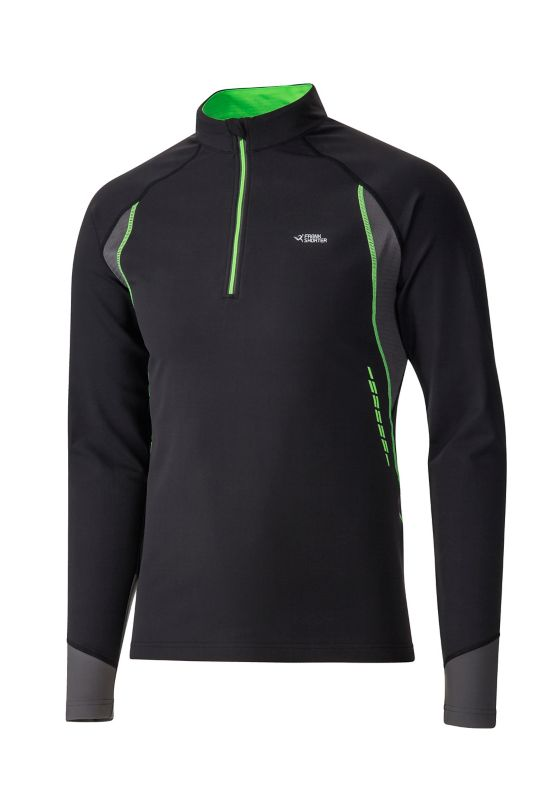 Renzo II Half Zip Long Sleeve Fleece BLK/GREEN LIME