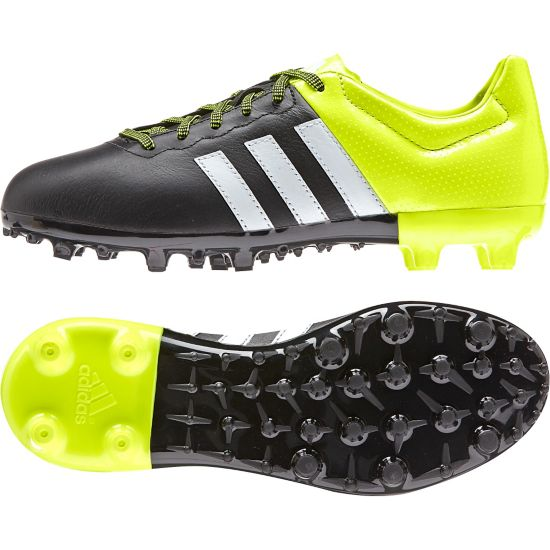 Ace 15.3 FG/AG Leather Fotballsko Jr. CBLACK/FTWWHT/S