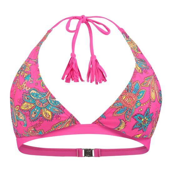 Paisley Halter Bikini Topp Dame RED AOP W/ORANG
