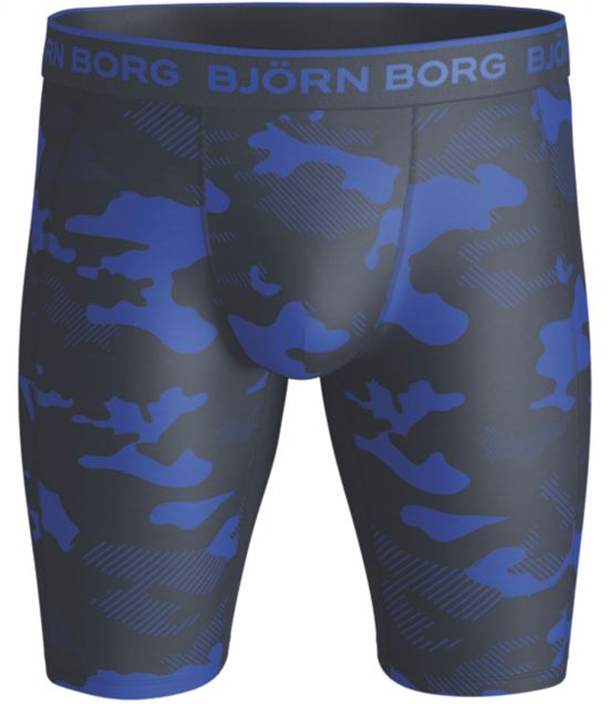 Performance long shorts camoprint DAZZLING BLUE