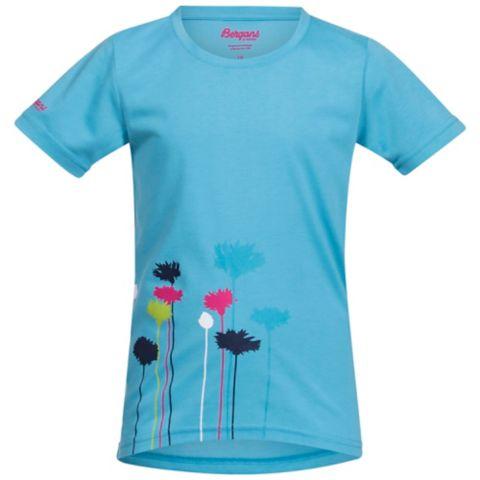 Flower t-skjorte barn/junior DP TURQ/HOT PIN