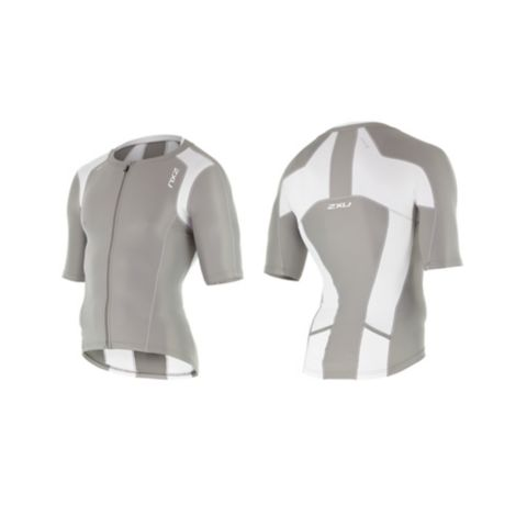 Compression Sleeved tritop herre FROST GREY/WHIT