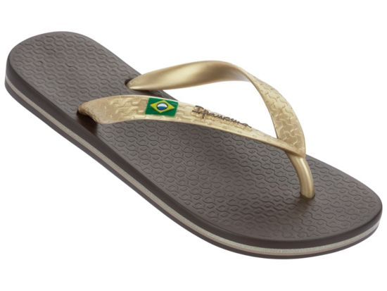 Classica Brasil Flip-Flops Dame BROWN/GOLD