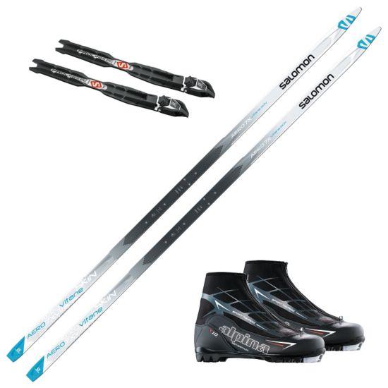 Salomon Aero 7X Vitane skipakke med skifeller og Alpin T10 skistøvel. Prolink binding.
