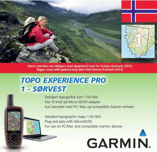 Topo Experience Pro 1 Elektronisk Kart - Sørvest